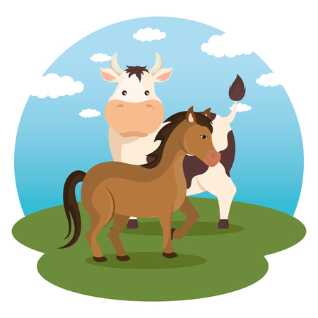 Illustration pour animals in the farm scene vector illustration design - image libre de droit