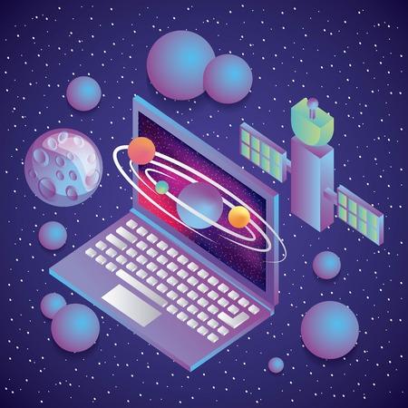 Illustration pour virtual reality technology futurist entertainment vector illustration - image libre de droit