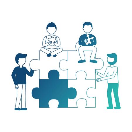 Ilustración de people with puzzle pieces teamwork collaboration vector illustration neon design - Imagen libre de derechos