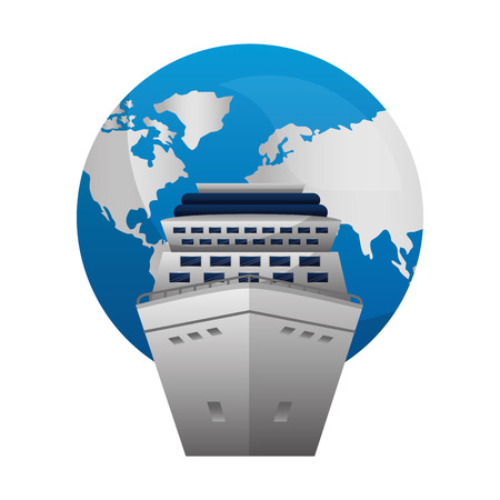 Illustration pour travel cruise ship world globe map vector illustration - image libre de droit