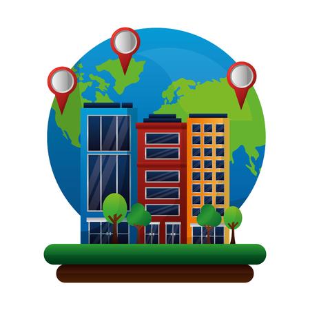 Illustration pour gps navigation world hotel pointers map travel vector illustration - image libre de droit