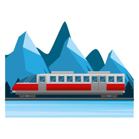 Illustration for travel train tourism winter mountain scene vector illustration - Royalty Free Image