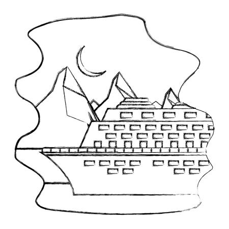 Illustration pour arctic cruise winter nature vacation travel vector illustration sketch - image libre de droit
