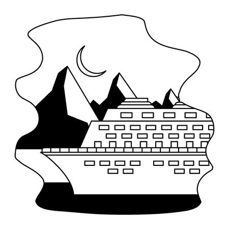 Illustration pour arctic cruise winter nature vacation travel vector illustration - image libre de droit