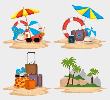 Illustration pour summer holidays set icons vector illustration design - image libre de droit