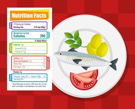 Ilustración de healthy food with nutritional facts vector illustration design - Imagen libre de derechos