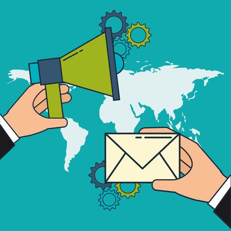 Illustration pour hand with megaphone and email world digital marketing vector illustration - image libre de droit
