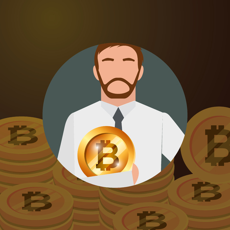 Illustration pour businessman holding bitcoin money crypto currency vector illustration - image libre de droit