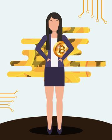 Ilustración de business woman holding bitcoin in hands cryptocurrency vector illustration - Imagen libre de derechos