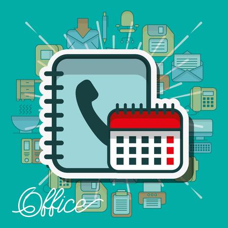 Ilustración de calendar and phone book contacts office vector illustration - Imagen libre de derechos