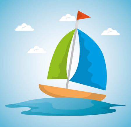 Illustration pour summer time scene with sailboat vector illustration design - image libre de droit