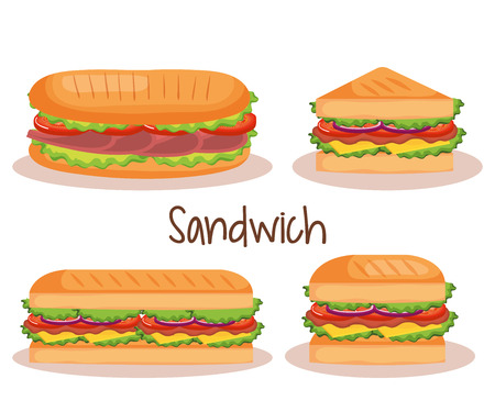 Photo for delicious sandwich fast food set icons vector illustration design - Royalty Free Image