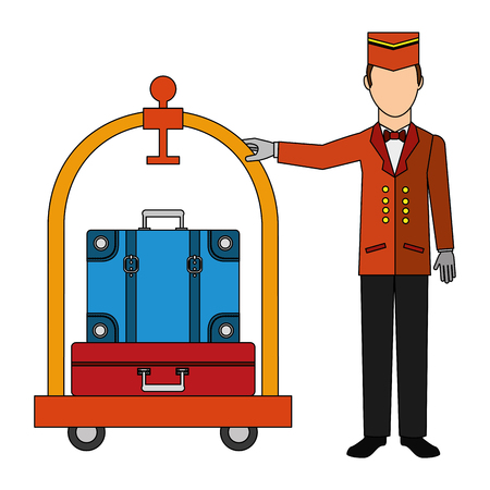 Illustrazione per bellboy hotel worker with cart hotel and suitcases isolated icon vector illustration design - Immagini Royalty Free