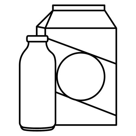 Ilustración de milk bottle and box vector illustration design - Imagen libre de derechos