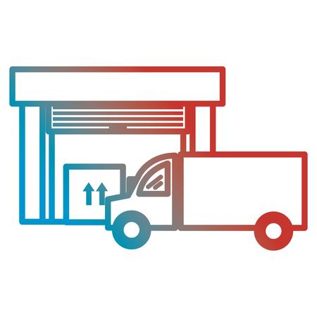 Illustration pour warehouse building with truck delivery service vector illustration design - image libre de droit