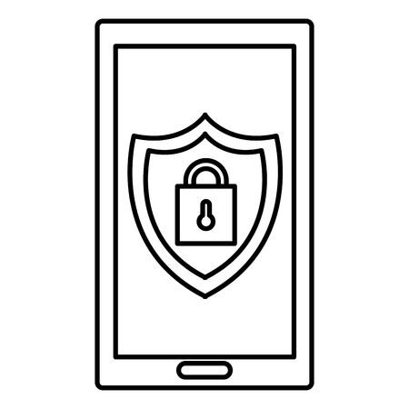 Illustration pour smartphone with shield and padlock vector illustration design - image libre de droit
