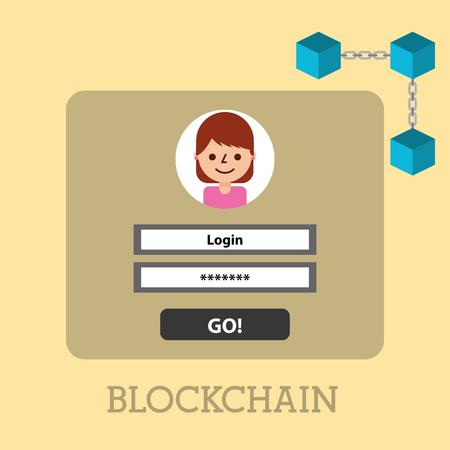 Illustration pour website cyber security blockchain digital vector illustration - image libre de droit