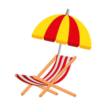 Illustration for umbrella beach with chair vector illustration design - Royalty Free Image