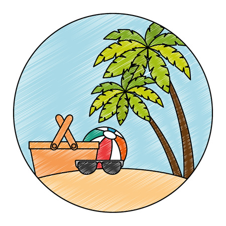Illustration pour sunglasses summer with balloon and basket in the beach vector illustration - image libre de droit