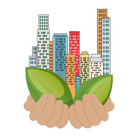 Illustration pour green city buildings and leafs vector illustration design - image libre de droit