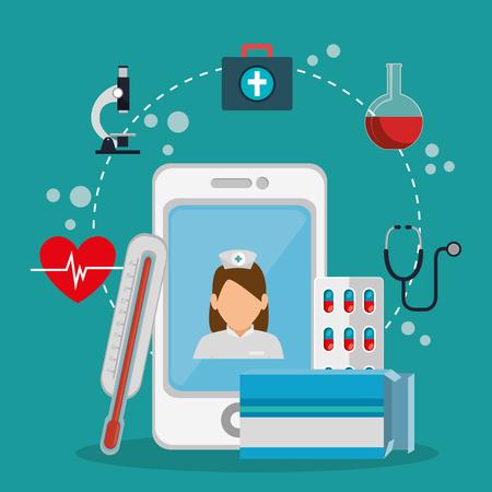 Ilustración de tele medicine online with smartphone vector illustration design - Imagen libre de derechos