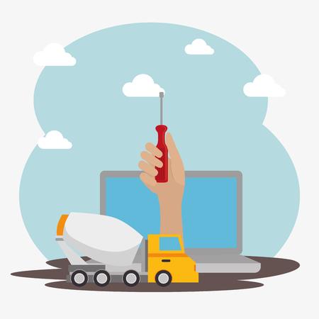 Illustration pour hand worker under construction with laptop vector illustration design - image libre de droit
