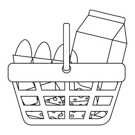 Ilustración de shopping basket with supermarket products vector illustration design - Imagen libre de derechos