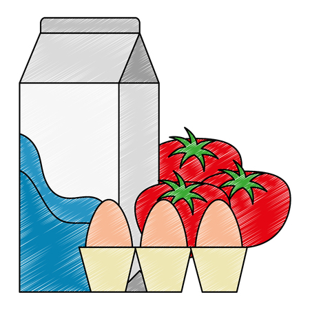 Illustration for milk box with tomatoes and eggs vector illustration design - Royalty Free Image