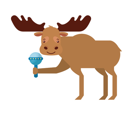 Illustration pour cute male moose with rattle toy vector illustration - image libre de droit