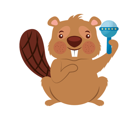 Illustration pour cute beaver funny rattle toy vector illustration - image libre de droit
