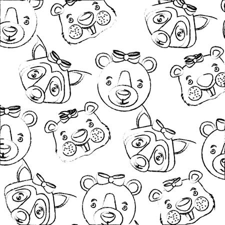 Illustration pour cute bear wolf beaver heads decoration background vector illustration - image libre de droit