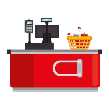Illustration pour supermarket point of sale desk with voucher and basket vector illustration - image libre de droit