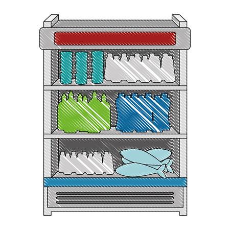 Illustration pour supermarket refrigerator with products vector illustration design - image libre de droit