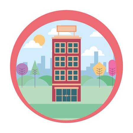Illustration pour hotel building urban trees scene vector illustration - image libre de droit