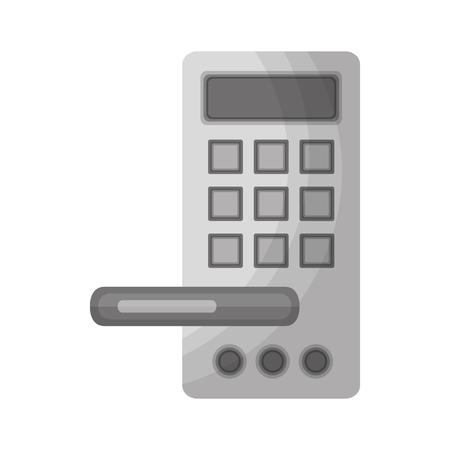 Ilustración de hotel door handle with electric lock vector illustration - Imagen libre de derechos