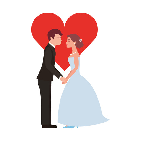 Illustration pour married couple with heart avatar character vector illustration design - image libre de droit