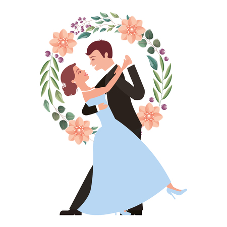 Illustration pour bride and groom and their first dance wedding day wreath flowers vector illustration - image libre de droit