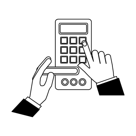 Ilustración de hand with door electronic access room vector illustration black and white - Imagen libre de derechos