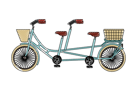 Illustration for classic tandem bicycle with basket vector illustration drawing - Royalty Free Image