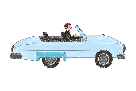 Illustration for groom man in car convertible vector illustration drawing - Royalty Free Image