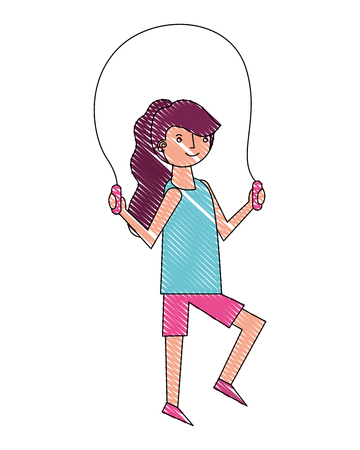 Illustration for young woman jump rope activity vector illustration drawing - Royalty Free Image