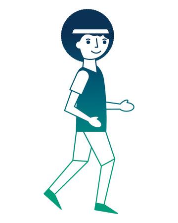 Ilustración de afro american man practicing jogging sport vector illustration neon design - Imagen libre de derechos