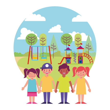 Illustration pour group of kids friends with amusement park icon vector illustration design - image libre de droit