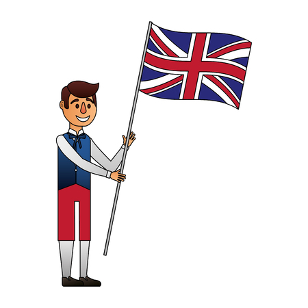 Illustration pour man cartoon in clothes traditional and flag england vector illustration - image libre de droit