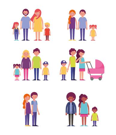Ilustración de people park and city couples familys baby carriage vector illustration - Imagen libre de derechos