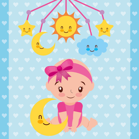 Illustration pour cute baby girl sitting with star and crib mobile vector illustration - image libre de droit
