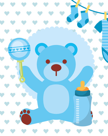Illustration pour blue toy bear rattle feeding bottle and clothes boy vector illustration - image libre de droit