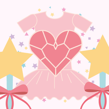 Ilustración de pink ballet tutu magic wand and heart vector illustration - Imagen libre de derechos