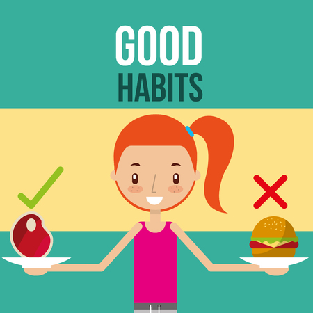 Illustration for cute girl with healthy and unhealthy food good habits vector illustration - Royalty Free Image