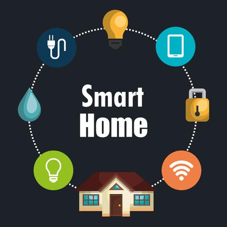 Illustration pour smart house with set services icons vector illustration design - image libre de droit